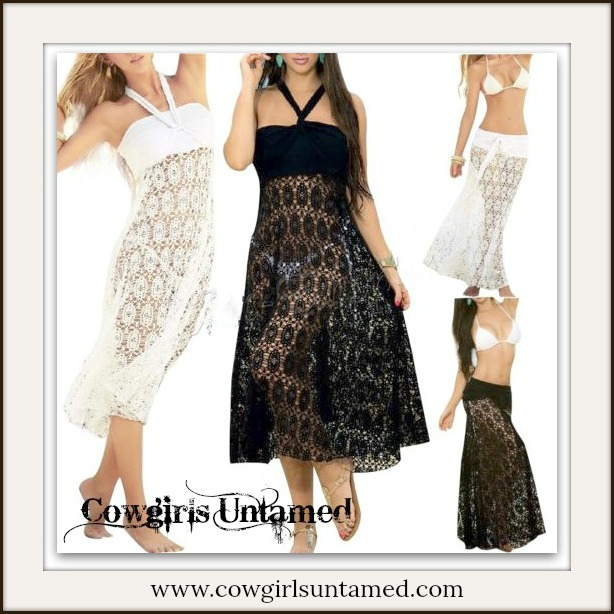 COWGIRL GYPSY COVER UP Crochet Lace Multi Purpose Boho Swimsuit Cover Up
