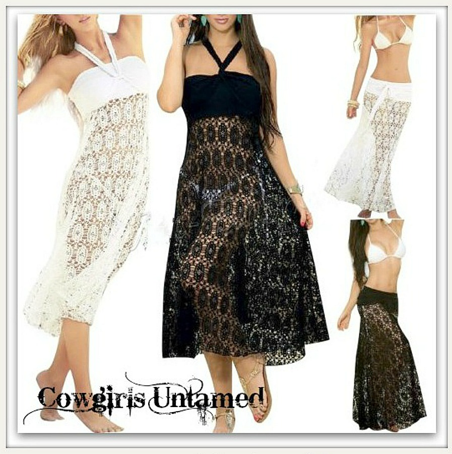 BOHO COVER UP Crochet Lace Multi Purpose Boho Swimsuit Cover Up