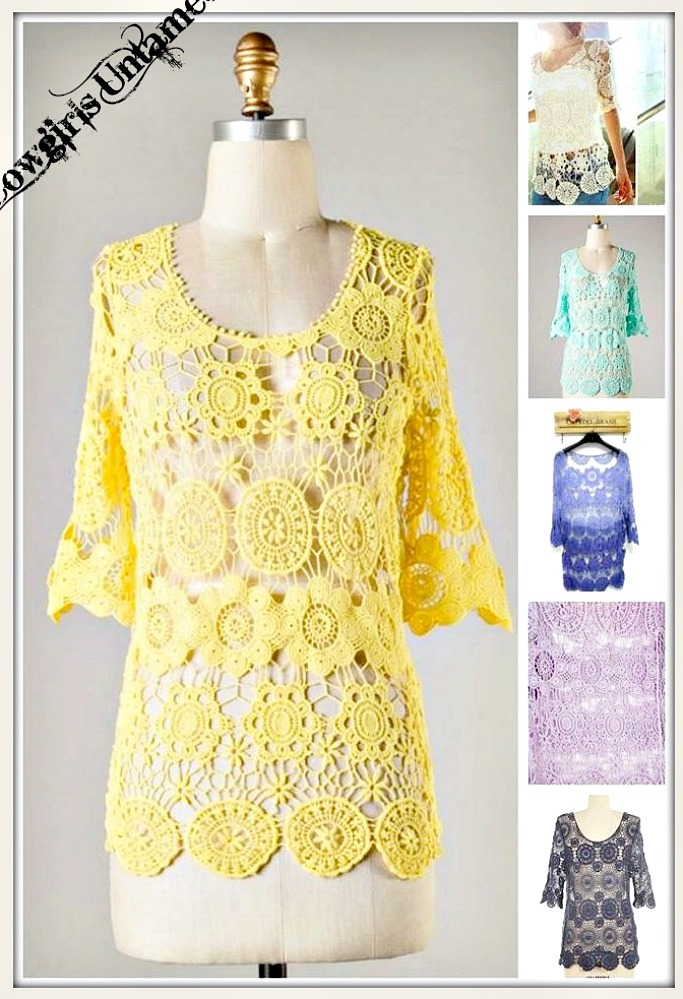 COWGIRL GYPSY TOP Lace Crochet 3/4 Sleeve Scoop Neck Top  4 COLORS!!