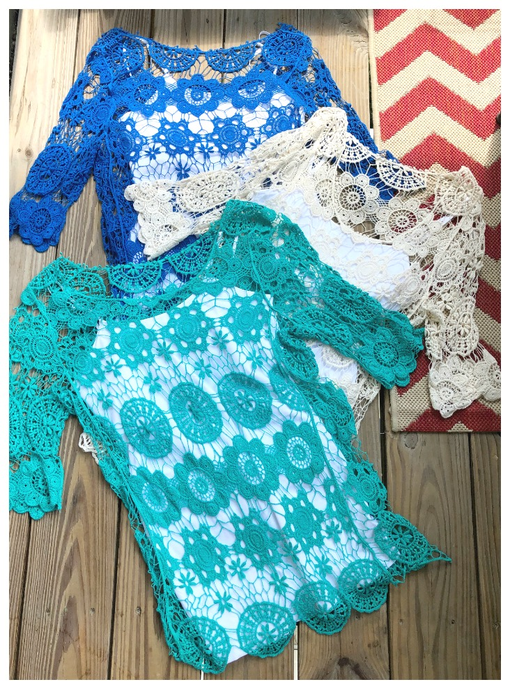 COWGIRL GYPSY TOP Lace Crochet 3/4 Sleeve Scoop Neck Top w/ FREE Tank  3 COLORS!! ONLY 1 Each!