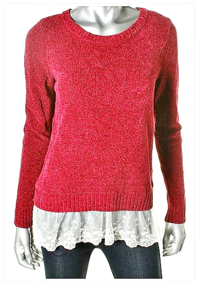 OH MG SWEATER Lace Trim RED Designer Pullover Sweater  LAST ONE SMALL