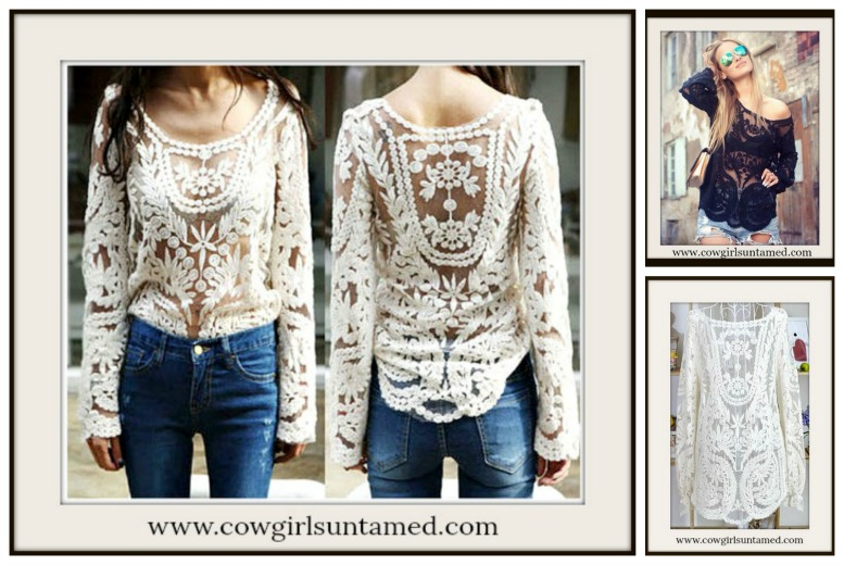 COWGIRL GYPSY TOP Crochet Lace Long Sleeve Boho Top  3 COLORS!