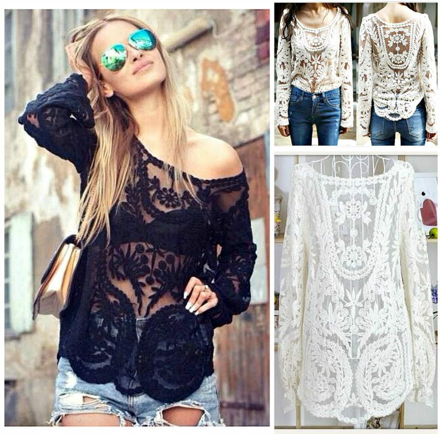 COWGIRL GYPSY TOP Crochet Lace Long Sleeve Boho Top  3 COLORS! XL or 2X LEFT