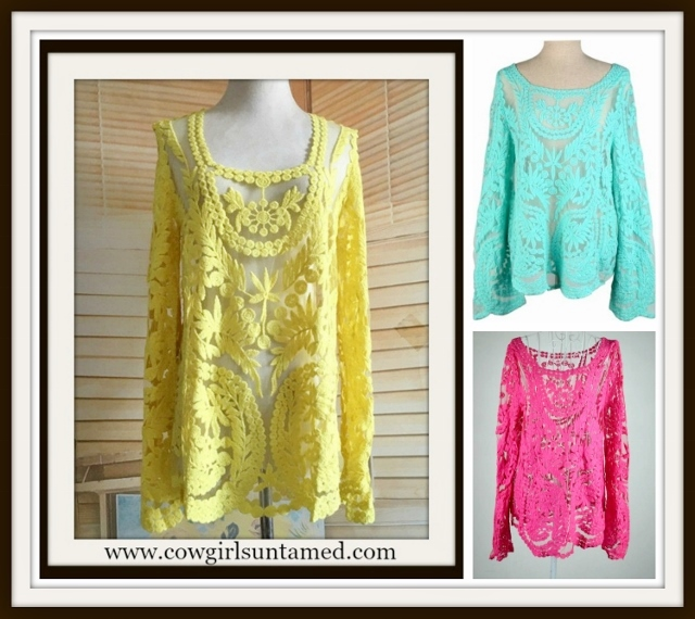 COWGIRL GYPSY TOP Floral Crochet Lace Long Sleeve Boho Top