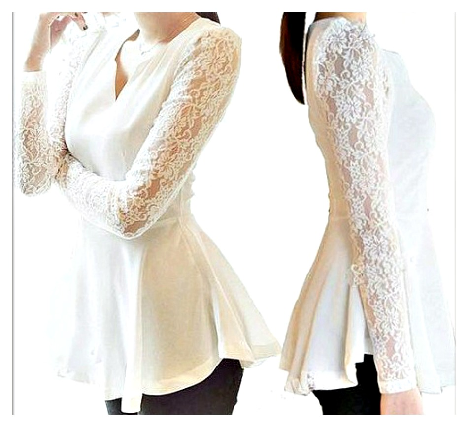 COWGIRL STYLE TOP Off White Peplum Lace N Chiffon Long Sleeve V Neck Peplum Western Top Blouse
