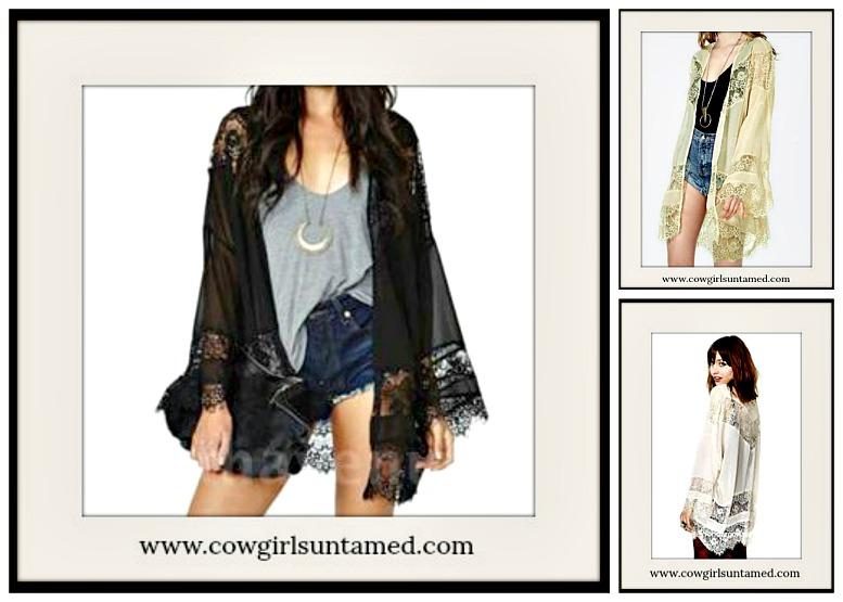 COWGIRL GYPSY KIMONO Lace Open Chiffon Cardigan Kimono Jacket