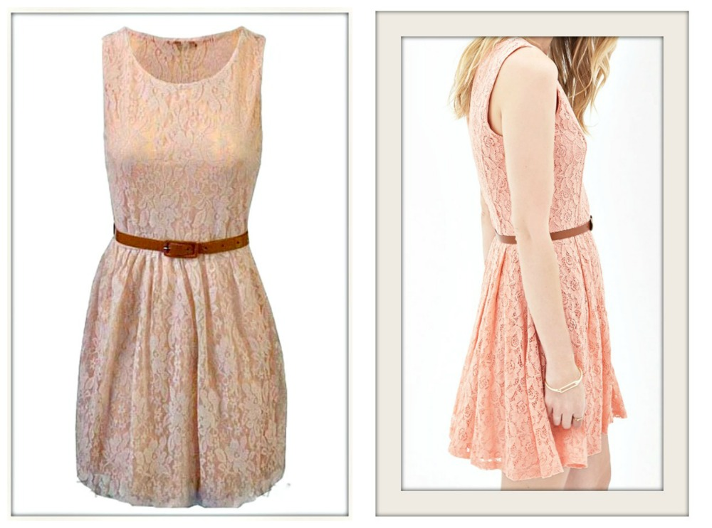 VINTAGE APPEAL DRESS Peach Lace Sleeveless Dress with FREE Belt