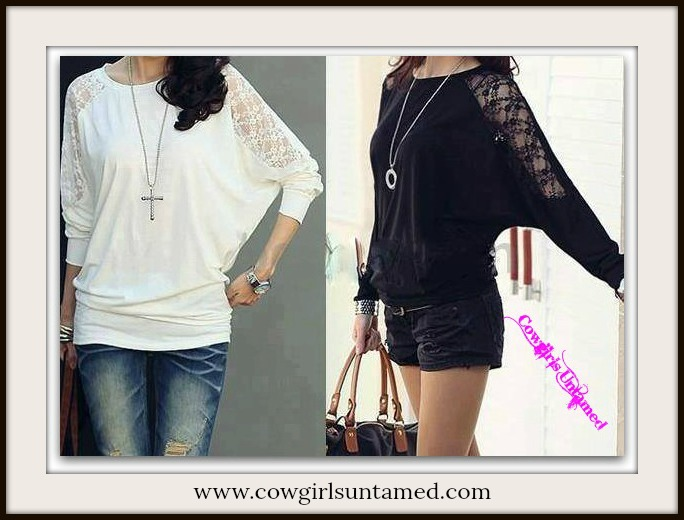 COWGIRL GYPSY TOP Lace Long Sleeve Loose Fit Dolman Sleeve Top