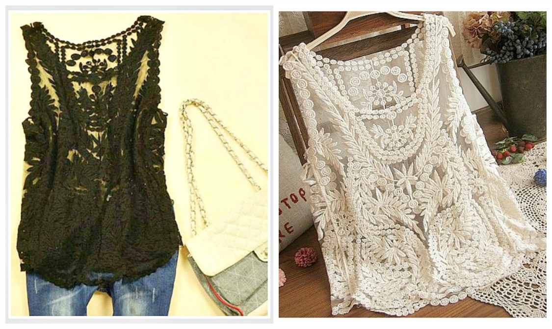 COWGIRL GYPSY TANK TOP Lace Crochet Sleeveless Western Tank Top