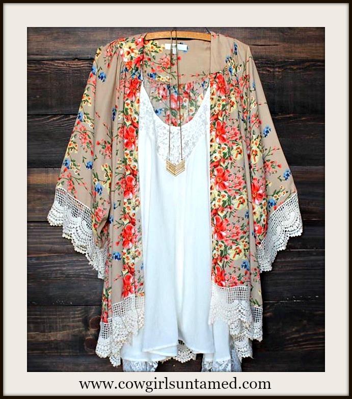 COWGIRL GYPSY KIMONO White Lace Trim on Floral Kimono Jacket Coverup