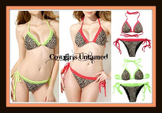 CLASSY COWGIRL BIKINI Lace Trim Leopard Print Padded Bikini - 2 piece