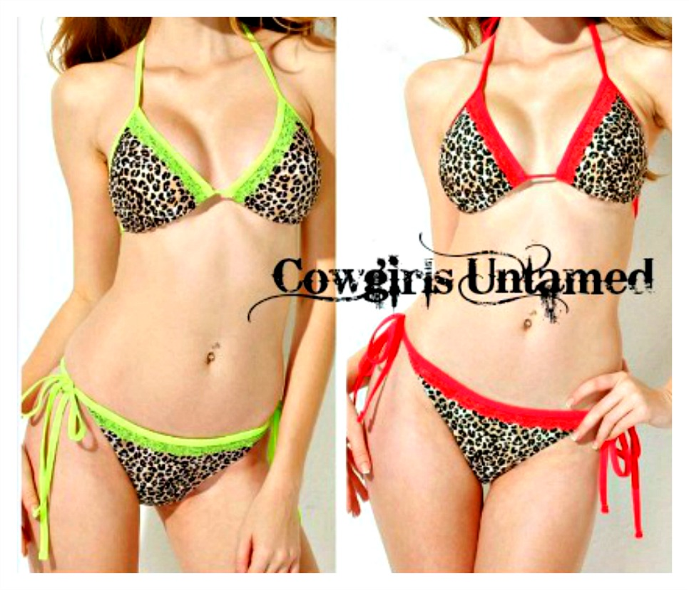 ON THE PROWL BIKINI Lace Trim Leopard Print Padded Bikini - 2 piece