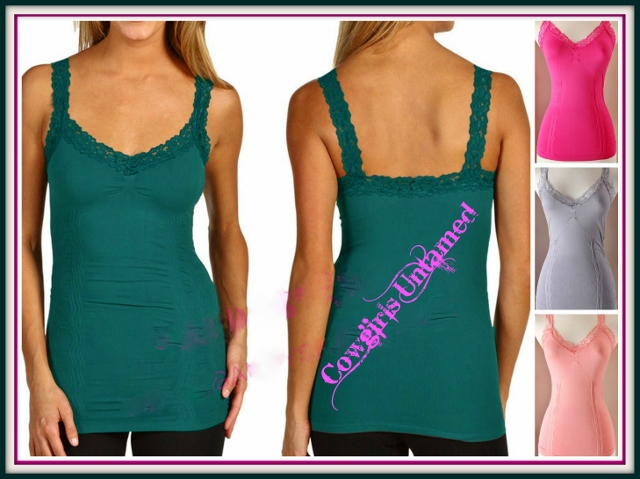 COWGIRL STYLE TANK TOP Spring Colors Lace Trim Stretchy Western Tank Top Camisole