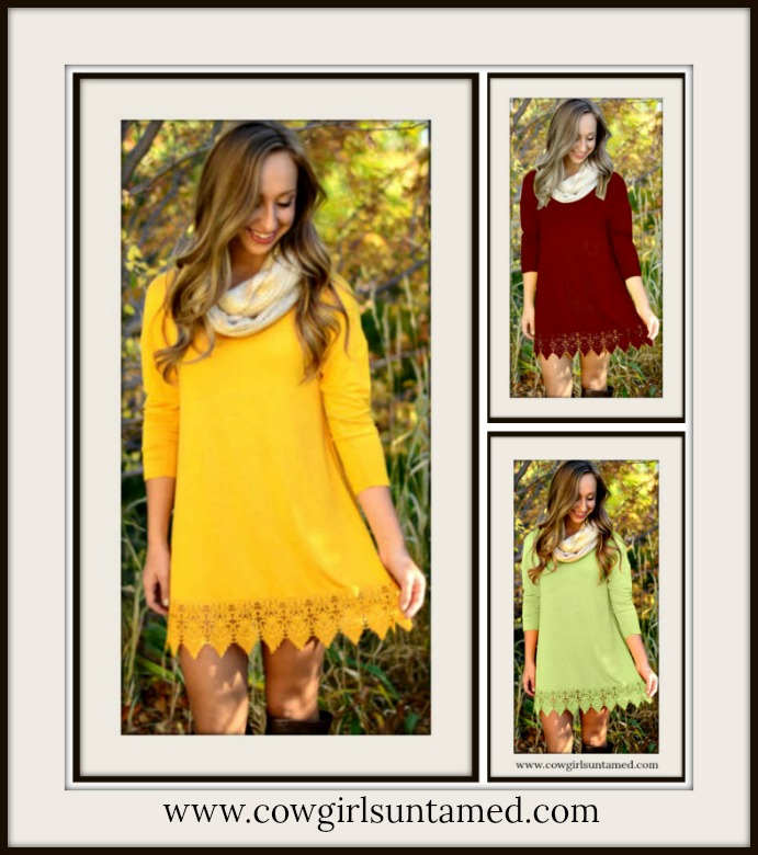 COWGIRL GYPSY DRESS Three Quarter Sleeve Crochet Lace Trim Loose Fit Mini Dress