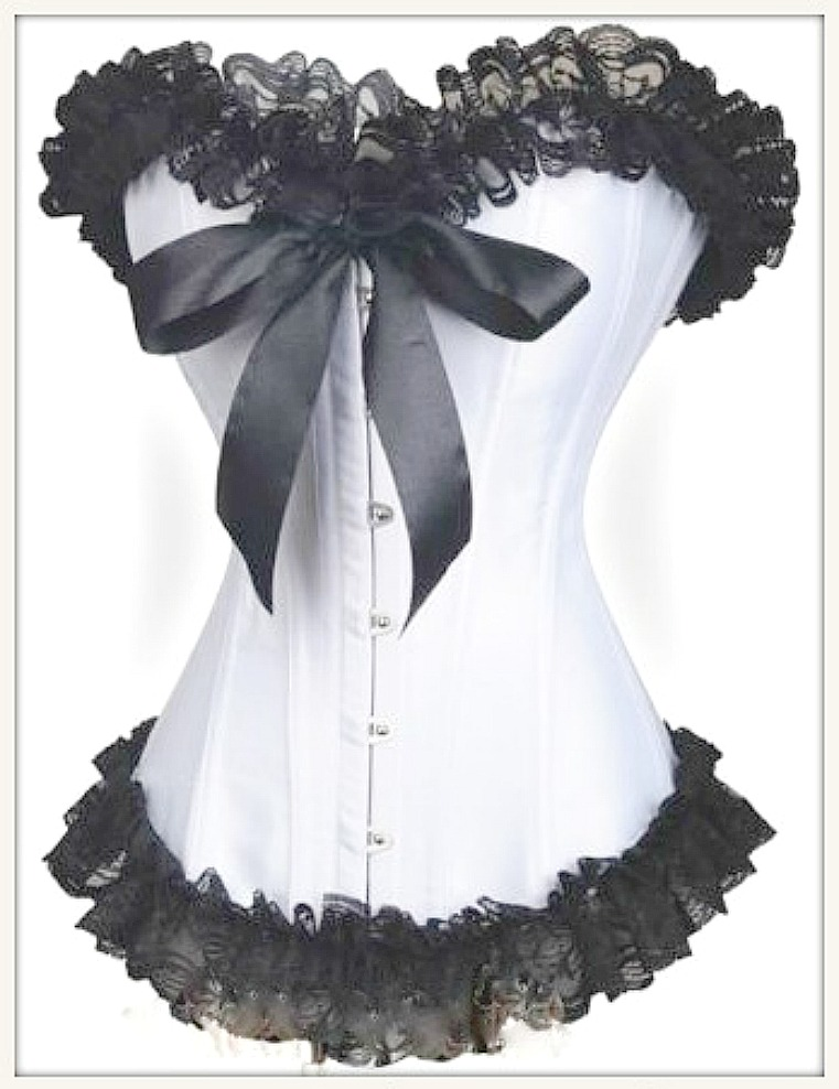 CORSET - Black Lace Ruffle Trim Sweetheart Neckline Ribbon Bow White Satin Corset Top LAST ONE M