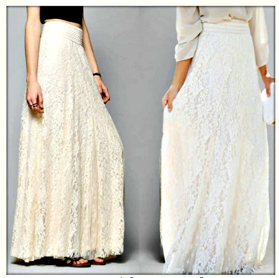 WILDFLOWER SKIRT Beautiful Lined Lace Boho Maxi Skirt 2 COLORS OS