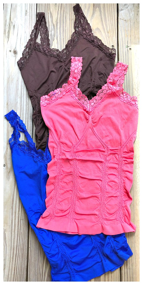 PRETTY in LACE TANK TOP Cami Lace Trim Stretchy Western Tank Top Cami ONE SIZE