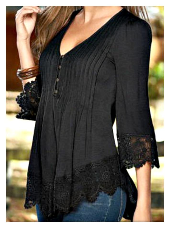 THE LILY TOP Black Pintuck and Lace V Neck 3/4 Sleeve Top