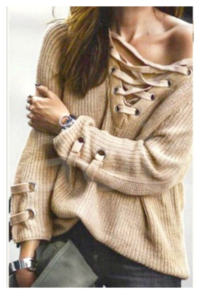 COWGIRLS ROCK SWEATER Lace Up Ribbed Chunky Pullover Sweater
