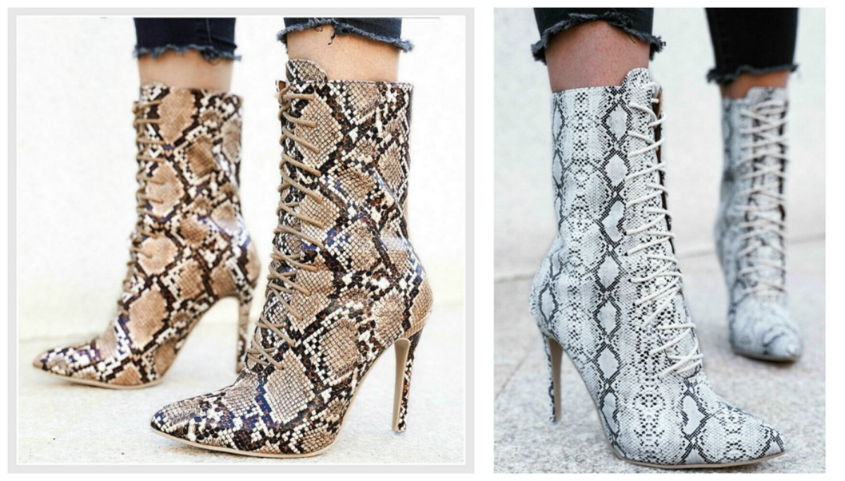 THE MAGGIE BOOTIE Snakeskin Lace Up High Heel Sexy Bootie  2 COLORS!