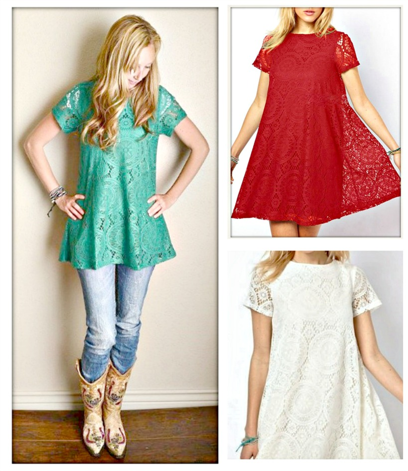 COWGIRL GYPSY DRESS Cap Sleeve Allover Lace Lined Mini Dress   3 COLORS!