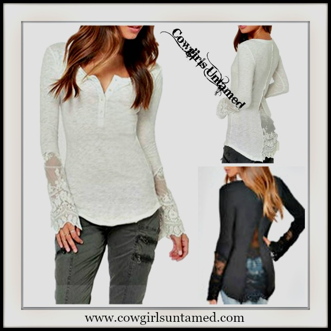 WILDFLOWER TOP Lace Long Sleeve & Back Henley Style T-Shirt