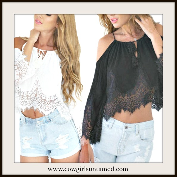 WILDFLOWER TOP White Lace Trim Off The Shoulder Cropped Chiffon Boho Top