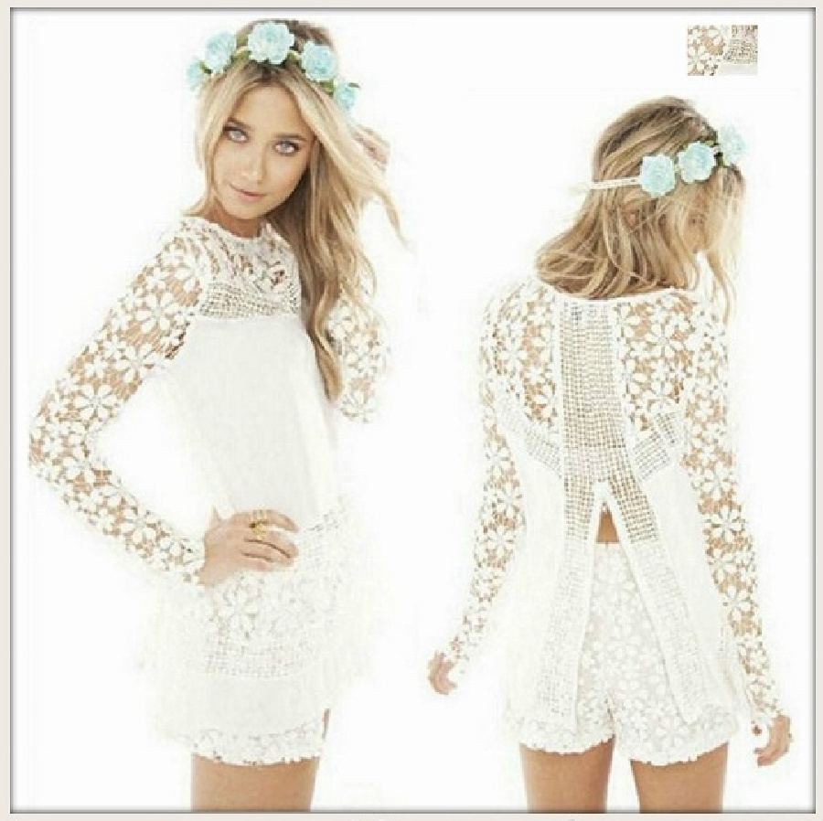 THE AUDREY TOP White Chiffon & Crochet Lace Open Back Long Sleeve Blouse LAST ONE white M