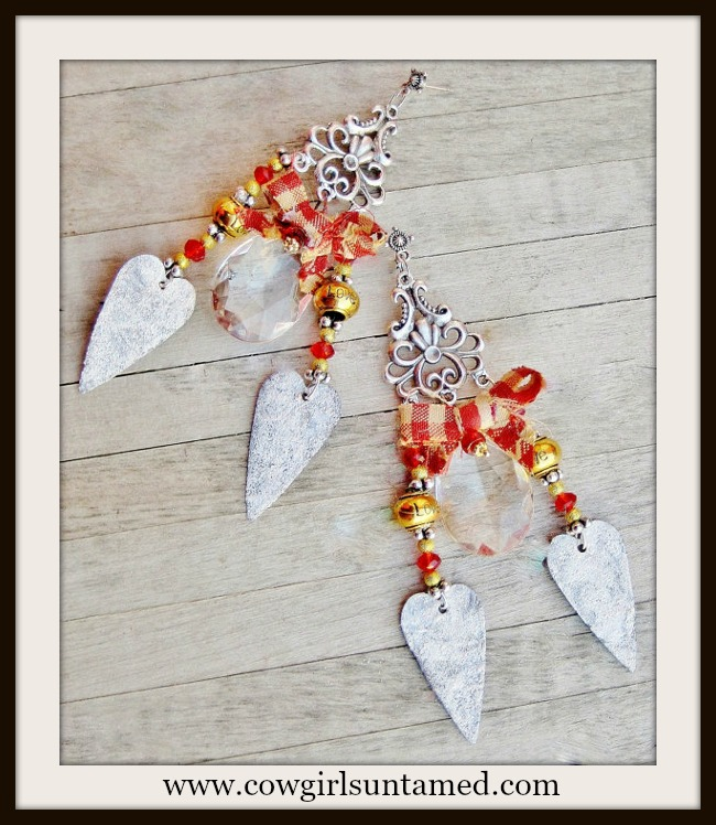 "COUNTRY COWGIRL EARRINGS Rustic Silver Gold Crystal Red Bow Heart ""LOVE"" Earrings"
