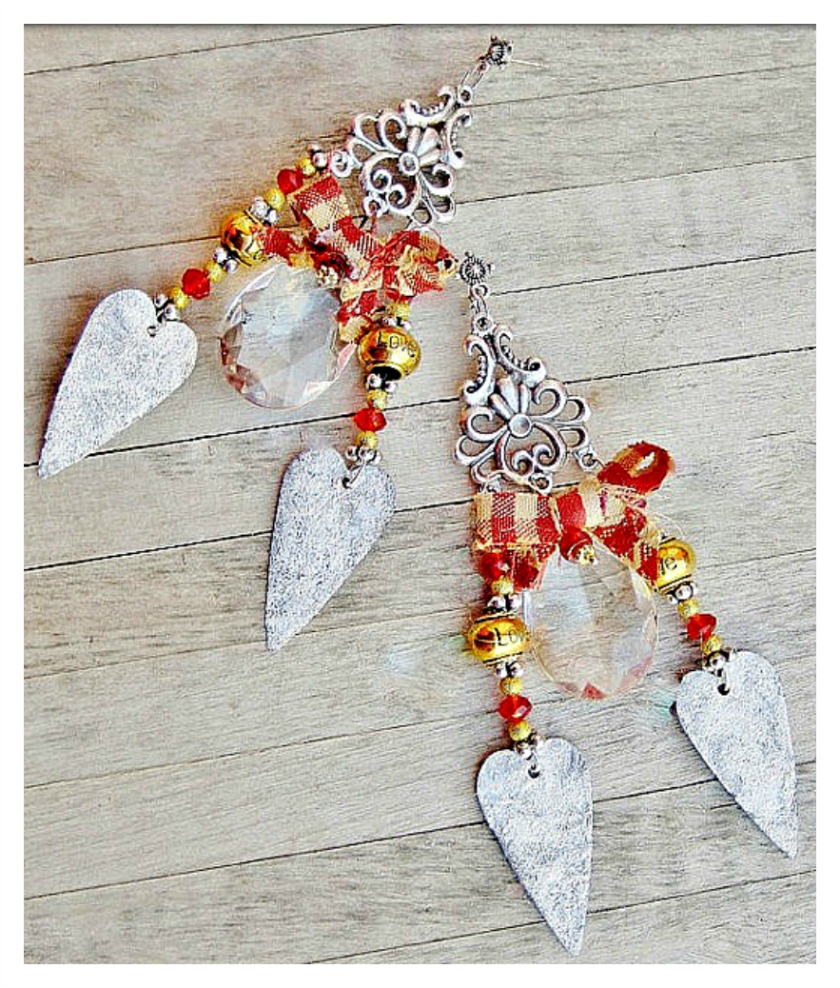 """COUNTRY COWGIRL EARRINGS Custom Rustic Silver Gold Crystal Red Bow Heart """"LOVE"""" Earrings"""