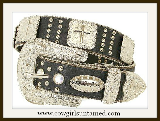 COWGIRL STYLE BELT Silver Cross Concho Rhinestone Studded Black Leather Belt
