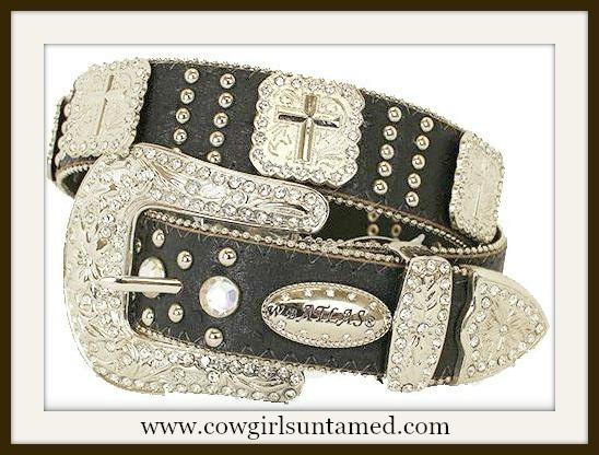 COWGIRL STYLE BELT Silver Cross Concho Rhinestone Studded Black Leather Belt