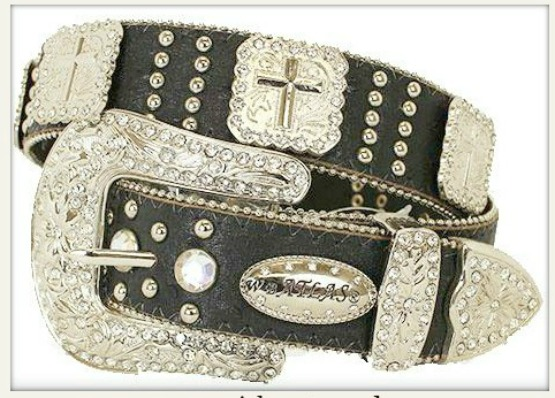 COWGIRL STYLE BELT Silver Cross Concho Rhinestone Studded Black Leather Belt LAST ONE Med