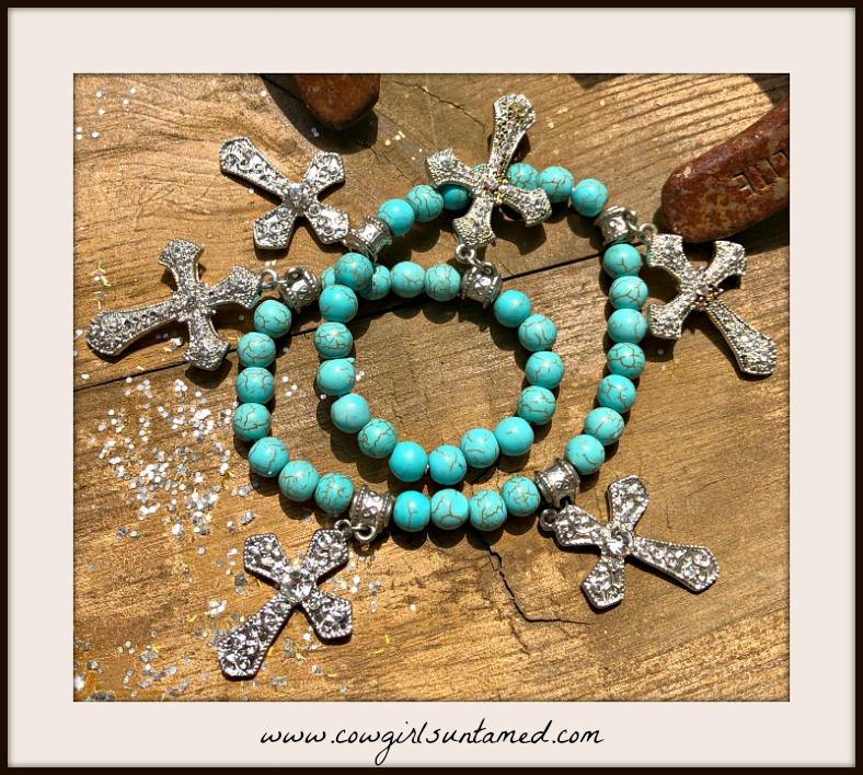 COWGIRL GYPSY BRACELET  Rhinestone Cross Charm Turquoise Beaded Stretch Wrap Bracelet