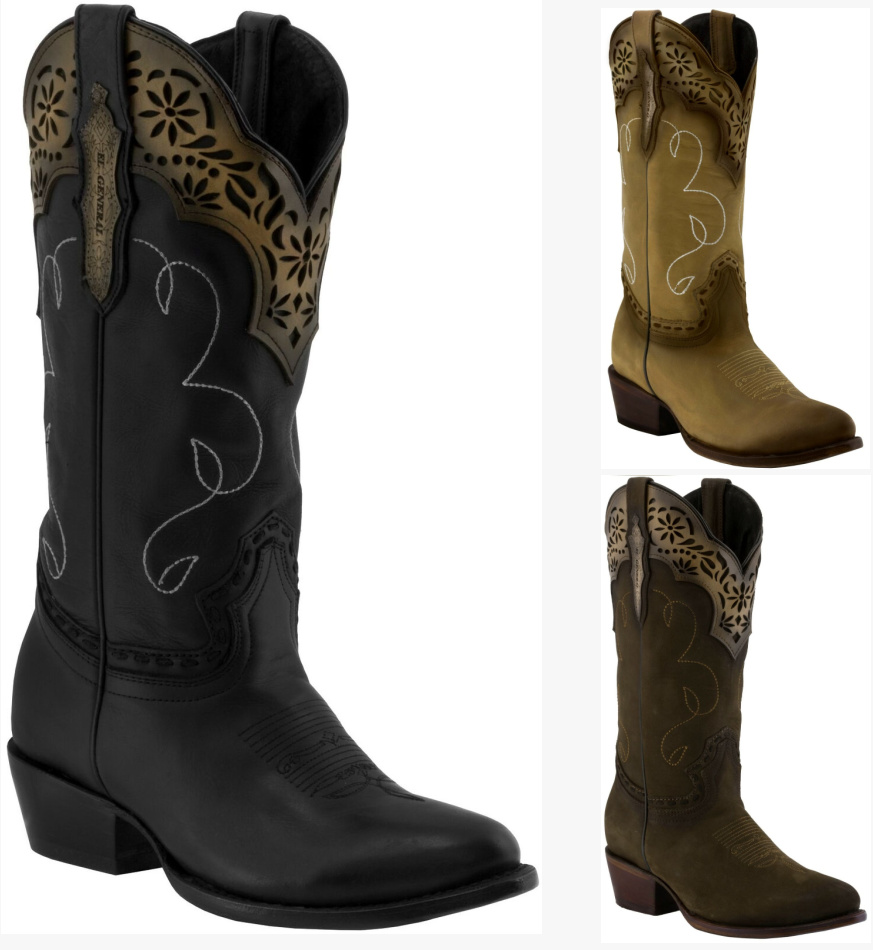 WILDFLOWER BOOTS Laser Cut Floral Overlay Round Toe Genuine Leather Cowgirl Boots 3 COLORS 6-11