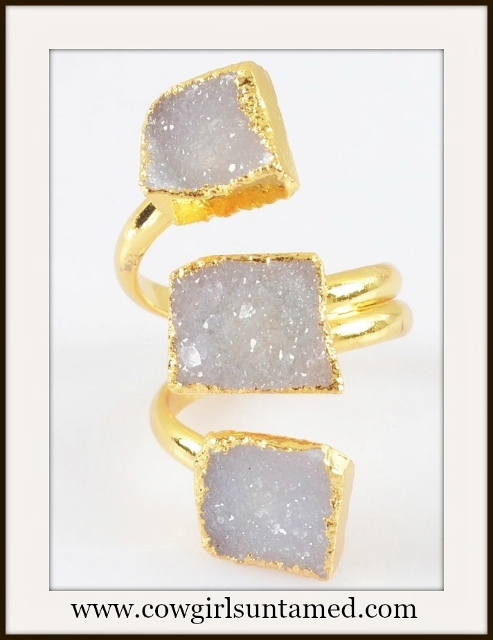 COWGIRL GYPSY RING Genuine Triple Lavender Agate Druzy N Gold Plated Boho Ring