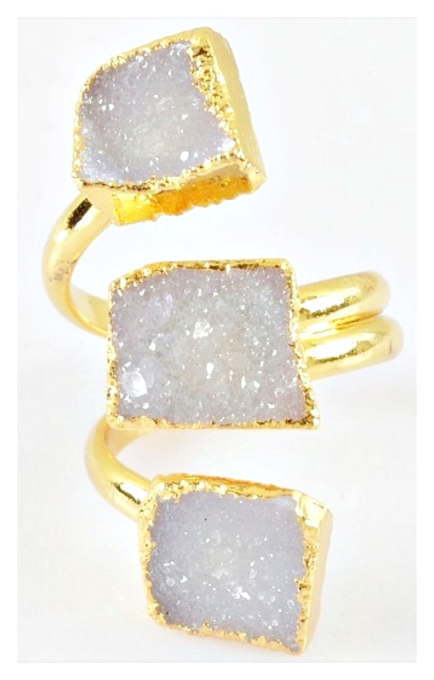 WILDFLOWER RING Genuine Triple Lavender Agate Druzy N Gold Plated Boho Ring