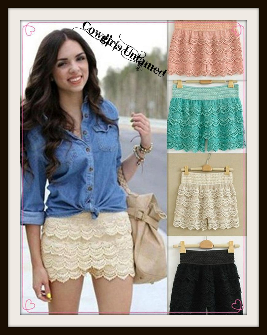 COWGIRL GYPSY SHORTS Layered Crochet Lace Elastic Waist Western Shorts