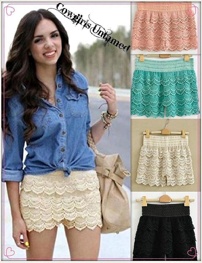 COWGIRL GYPSY SHORTS Layered Crochet Lace Elastic Waist Western Shorts Size S/M, M/L, L/XL, 2XL
