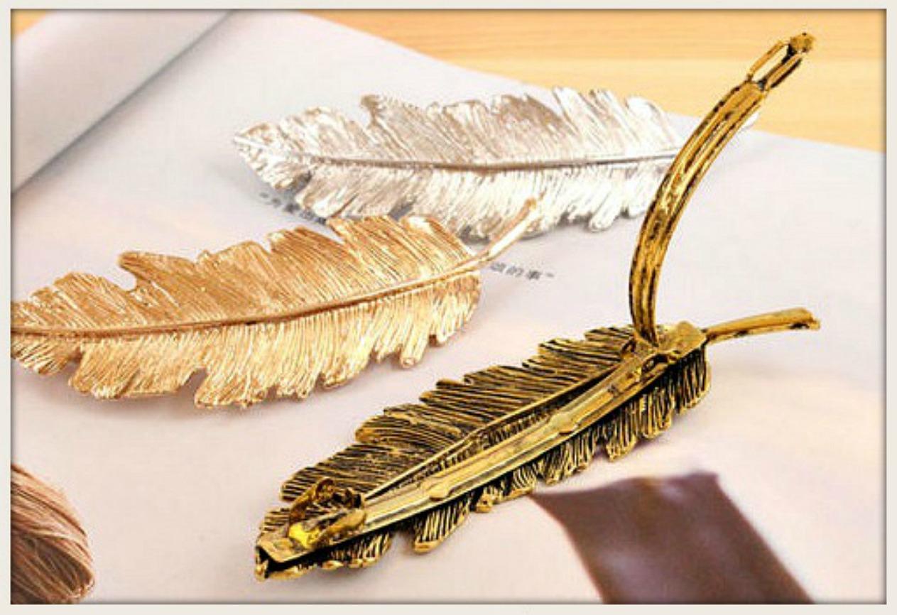 BOHEMIAN COWGIRL BARRETTE Large Metallic Feather Barrette  3 Colors!