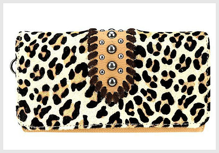 TRINITY RANCH WALLET Leopard Hair on Hide Leather Western Wallet / Wristlet