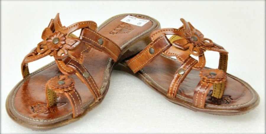 663c50a06d93c Genuine Brown Leather Butterfly   Flower Strappy Bohemian Sandals ...