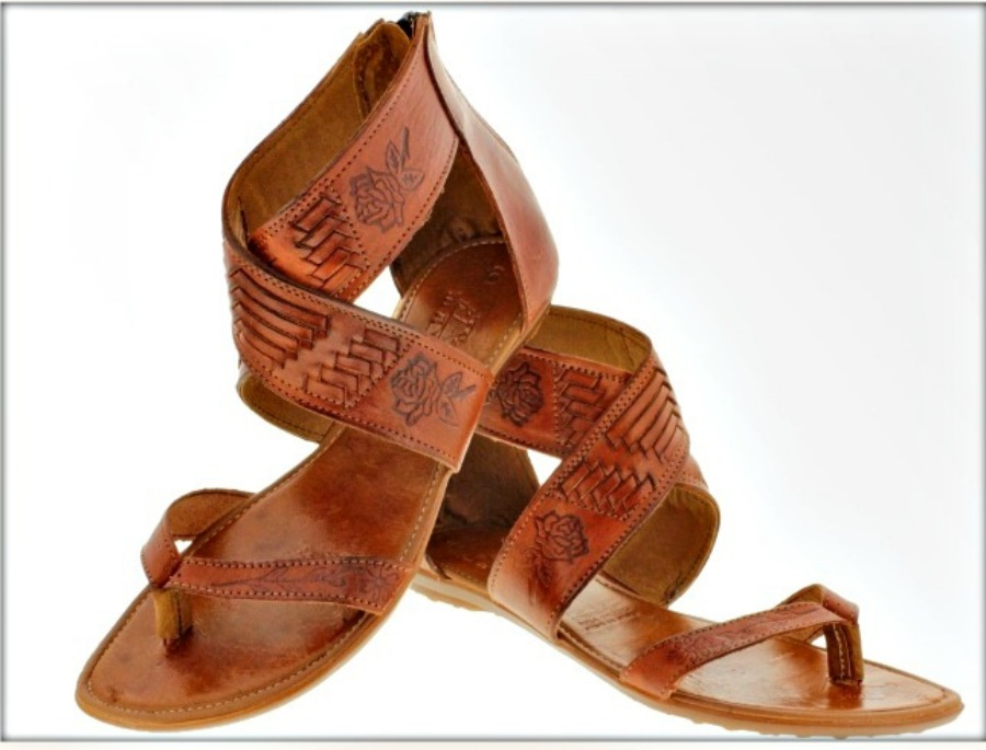 BOHEMIAN COWGIRL SANDALS Genuine Brown Leather Embossed Rose Gladiator Sandals ONLY 6,7 10 LEFT!