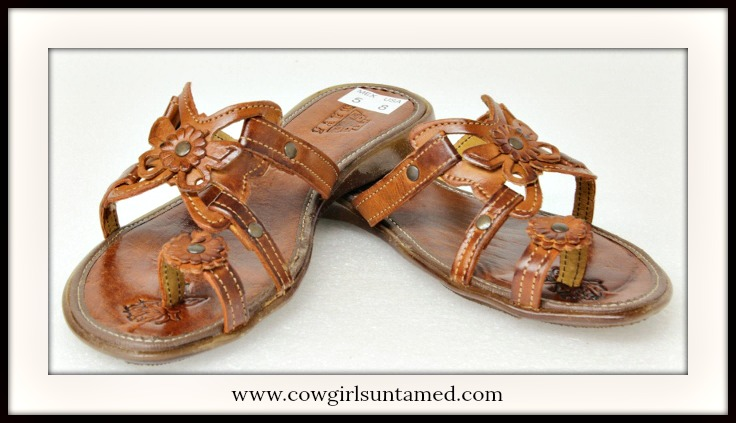 BOHEMIAN COWGIRL SANDALS Genuine Brown Leather Butterfly & Flower Strappy Sandals
