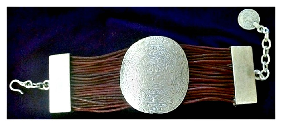 COWGIRL GYPSY BRACELET Sterling Silver Plated Etched Plate N Brown Leather Boho Bracelet