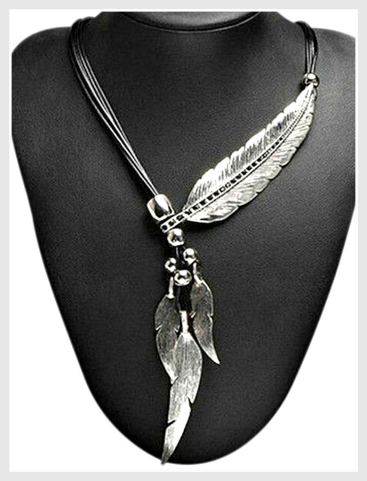 e61b41c01e340 Rhinestone Feather Multi Leather Strand Boho Necklace