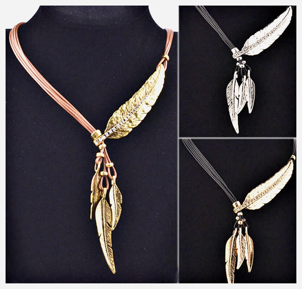 BOHO CHIC NECKLACE Rhinestone Feather Multi Leather Strand Boho Necklace