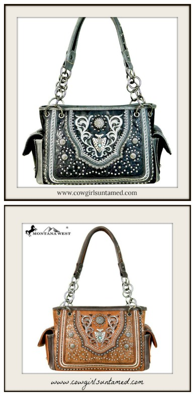 COWGIRL STYLE HANDBAG Silver Concho Arrowhead Studded Floral Tooled Shoulder Bag 2 COLORS!