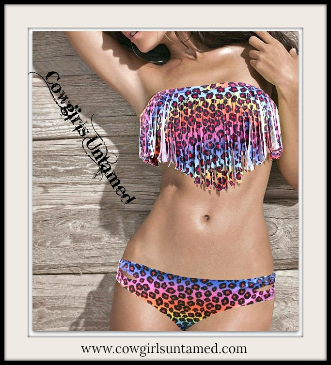CLASSY COWGIRL BIKINI Multi Color Leopard Padded Fringe Strapless Bikini  - 2 piece