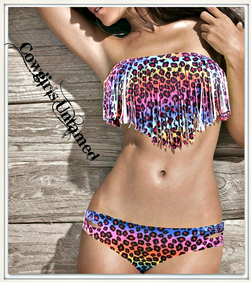 ON THE PROWL BIKINI Multi Color Leopard Padded Fringe Strapless Bikini  - 2 piece